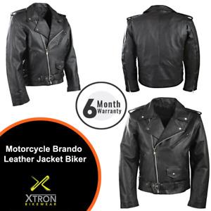 Mens Black Classic Motorcycle Perfecto Brando Cowhide Leather Jacket Biker UK