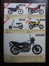 BROCHURE CATALOGUE 1983 MOTO SUZUKI  DR125 CS125 GS125  RT80 GSX400F  PROSPECT