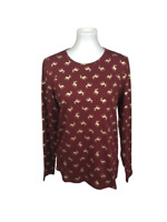 Lands End Women's Size M Holiday Reindeer Knit Long Sleeve Shirt Top Red Gold