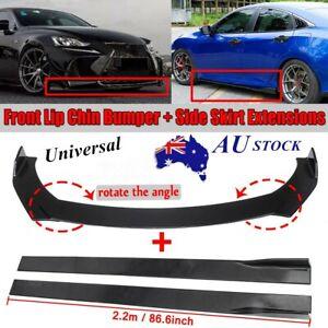 """Universal Glossy Black Front Bumper Lip Splitter Spoiler+86.6"""" Side Skirt AU"""