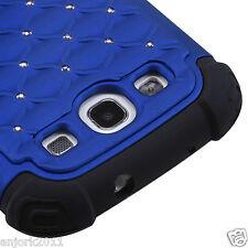 Samsung Galaxy SIII 3 HYBRID LATTICE SPOT DIAMOND CASE SKIN COVER BLUE/BLACK