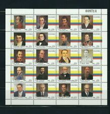 COLOMBIA 1995 PRESIDENTS OF COLOMBIA FULL SHEET WITH 20 STAMPS MNH