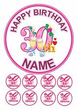 """30TH FEMALE BIRTHDAY  CAKE TOPPER ROUND EDIBLE  ICING FROSTING 7.5""""+8 CUPCAKE"""