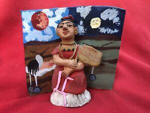 Mexican Folk Art Josefina Aguilar 3-D Ceramic Frida Kahlo Tree Of Hope Painting