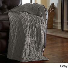 """Gray Oversized Cotton Knit Throw Blanket for Sofa Chair 50"""" x 70"""" Decorative"""