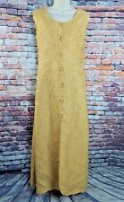"""Vintage 70s maxi dress 12 Bust 37"""" yellow gold textured sleeveless button front"""