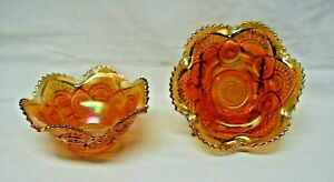 """2 Antique Imperial Carnival Glass Twins Marigold 6"""" Ruffled Berry Bowl c.1910s"""