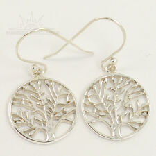 925 Solid Sterling Silver Jewelry TREE OF LIFE Handmade Earrings PLAIN NO STONE
