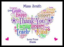 Thank You Teacher Gift  Childminder TA Assistant Head Personalised School End