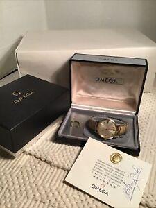 Vintage Omega Seamaster Deville 14k Gold Filled Watch W Case Anheuser Busch