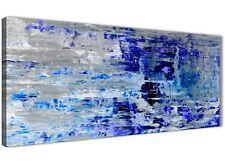 Indigo Blue Grey Abstract Painting Art Print Canvas - Modern 120cm Wide - 1358