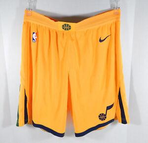 2017-18 Utah Jazz Game Issued Yellow Shorts 42+2 Nike Authentic Pro Cut