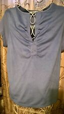 ONE STEP UP WOMEN'S PLUS BLUE MIXED MEDIA FAUX SUEDE V NECK KNIT TOP 3X EUC