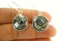Round Abalone Shell Mother of Pearl Disc 925 Sterling Silver Earrings
