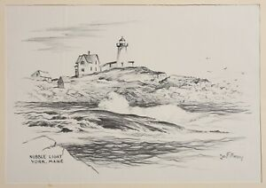 Vintage print, Jas F. MURRAY MA, sketch drawing of Nubble Lighthouse York, MAINE