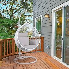 Rattan Effect Garden Hanging Egg Swing Chair Relaxing Patio Hammock w/ Cushions