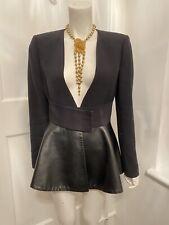 Zara Woman Studio Black Peplum Faux Leather Jacket Size Small