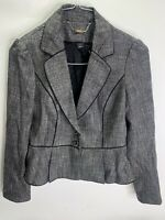 White House Black Market Women's White Black Tweed 2 Button Size 6 Blazer Jacket