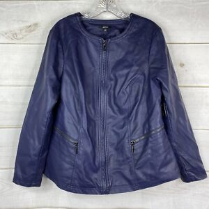 NEW Alfani Women's Plus 1X Faux Leather Moto Jacket Navy Blue Full Zip Pockets