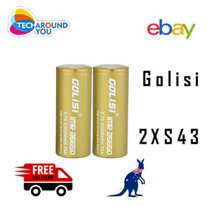 2x Golisi S43 IMR 26650 3.7V 4300mAh 35A High Drain Rechargeable Li-ion Battery