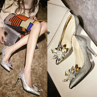 Women Stiletto Pointed-toe High Heels Pumps Wedding Shoes Rhinestone Party Shoes