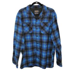 Pendleton Wool Original Board Shirt Blue Plaid Men's Tall Large Button Down