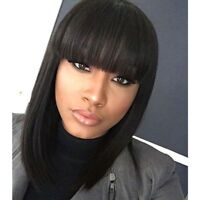 Human Hair Short Bob Lace Front Wigs With Bangs Glueless Full Lace Bob Wigs