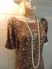 WALLIS L Vintage 1920s Gold Crochet Knit Sequin Flapper Gatsby Tunic Stretch Top