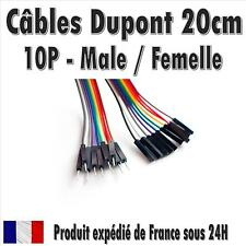 10x Cables Dupont 20cm Male/Femelle pour BreadBoard Arduino, Raspberry Pi