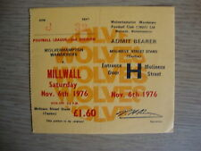 1976/7 Wolverhampton Wolves v Millwall - Complete Ticket - Excellent Condition