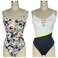 Maaji Reversible One Piece Swimsuit Black Forest Floral to Navy Blue Green Large