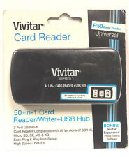 Vivitar 50-In-1 Plug & Play Memory Card Reader/Writer + 2-Port USB 2.0 Hub