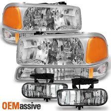 Fit 1999-02 GMC Sierra 99-06 Yukon XL Chrome Headlights+Bumper Lamps+Fog Lights
