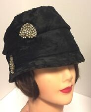 Gorgeous Vintage Antique 1920s Black Velvet Fur Flapper Cloche Hat w/Rhinestones