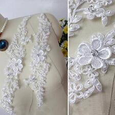 Floral Lace Applique Rhinestone Bridal Motif Wedding Corded Lace Trim 1 Pair