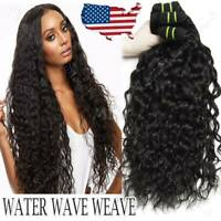 Water Wave Indian Virgin 3Bundles/300G Human Hair Extensions Weave Weft Thick US