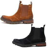 Caterpillar CAT Economist Chelsea Split Suede Boots in Black & Brown
