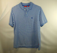 IZOD Mens Short Sleeve Casual Polo Golf Dress Shirt Blue Striped Size MEDIUM M