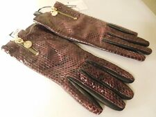 New Diane Von Furstenberg Snake Leather Zip Gloves - Size 6.5.