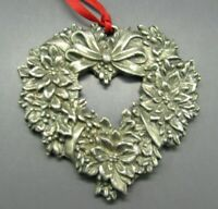 REED & BARTON Silver Pewter CHRISTMAS ORNAMENT Poinsettia HEART WREATH FLOWERS