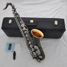 Top Satin black nickel Bb tenor Saxophone High F# Saxofon with NEW case