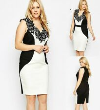 White Black Lace Sleeveless Evening Formal Party Sexy Slim Dress Plus Sz 14 16