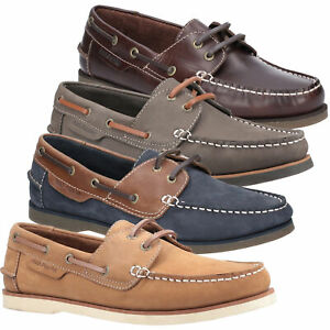 Mens Hush Puppies Henry Classic Smart Leather Casual Boat Shoes Sizes 7 to 12