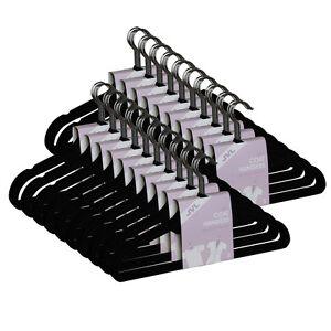 JVL Black 10 - 500 Thin Velvet Touch Space Saving Non-slip Coat Hangers