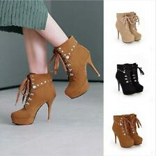 Женские круглый носок платформе высоком каблуке с заклепками на шнуровке лодыжку ботинки клубная одежда панк