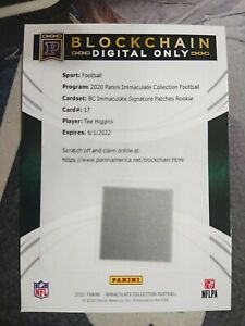 BE 2020 Panini Immaculate Blockchain Rookie RC PATCH Auto #17 Tee Higgins /10