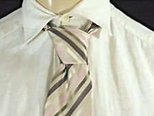 JULES COLLECTION Superbe Cravate beige gris rose tie corbata krawatte