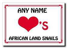 Love Heart African Land Snails Personalised Jumbo Magnet