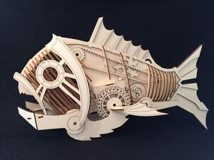 Wooden Steampunk/Wierd Fish Laser Cut Model/Puzzle Kit