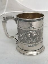 Child's Cup Mug GORHAM COIN Silver 1862 Repousse Scrolls Nice!